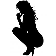 Adult muursticker: 10134 - Vrouw hurkend opzij