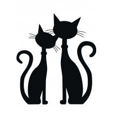 Katten muursticker: 10001 - Verliefde katten