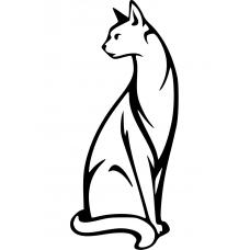 Katten muursticker: 10003 - Gedraaide kat open