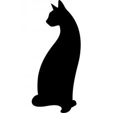 Katten muursticker: 10004 - Gedraaide kat silhouet