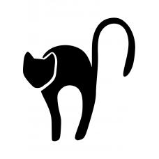Katten muursticker: 10010 - Kat hoge rug