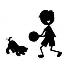 10039 - Jongen met bal spelende hond