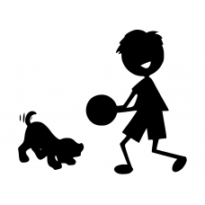 Kinderkamer muursticker: 10039 - Jongen met bal spelende hond