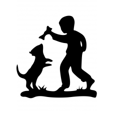 Kinderkamer muursticker: 10040 - Hond met bot spelend