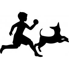 Kinderkamer muursticker: 10041 - Rennende hond met jongen
