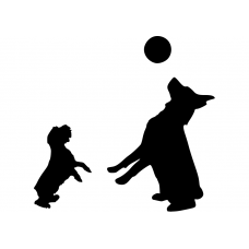 Kinderkamer muursticker: 10042 - Spelende honden