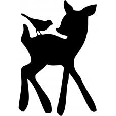 Kinderkamer muursticker: 10049 - Hert met vogel