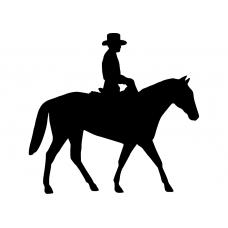 Paardrijden muursticker: 10104 - Cowboy op paard rechts