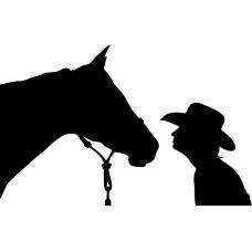 Paardrijden muursticker: 10107 - Cowboy paard onderonsje