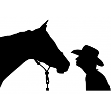 Paarden muursticker: 10107 - Cowboy paard onderonsje