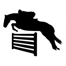 Paardrijden muursticker: 10171 - Springpaard over balken