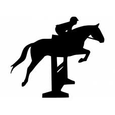 Springen muursticker: 10172 - Springpaard over hindernis