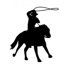 Paarden muursticker: 10174 - Cowboy zwaait lasso