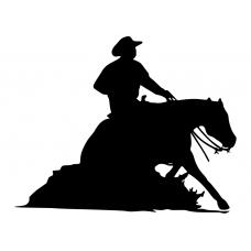 Western muursticker: 10175 - Cowboy sliding stop