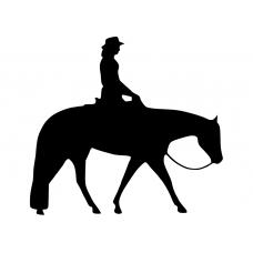 Western muursticker: 10176 - Cowgirl te paard stap