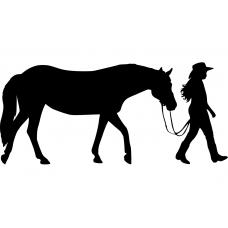 Western muursticker: 10177 - Cowgirl paard aan de hand
