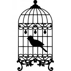 Dieren muursticker: 10261 - Vogel in kooi