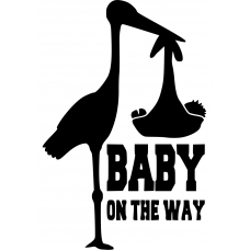 Teksten muursticker: 10119 - Baby on the way ooievaar