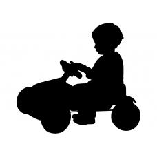 Kinderkamer muursticker: 10124 - Kind op speelgoedauto