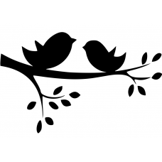 Natuur muursticker: 10063 - Boomtak twee vogels
