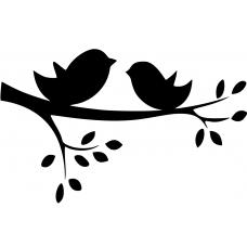 Vogels muursticker: 10063 - Boomtak twee vogels