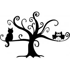 Vogels muursticker: 10068 - Uil en kat in boom