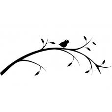 Vogels muursticker: 10070 - Fluitend vogeltje op tak