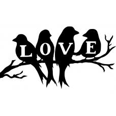 Vogels muursticker: 10073 - Love vogels op tak