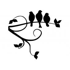 Natuur muursticker: 10074 - Vogels sierlijke tak