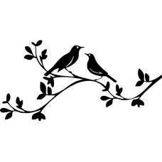 Natuur muursticker: 10075 - Vogelstel op tak