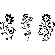 Sets muursticker: 10226 - Drie sierlijke bloemen combinatieset