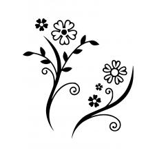 Bloemen en planten muursticker: 10231 - Bloemenduo