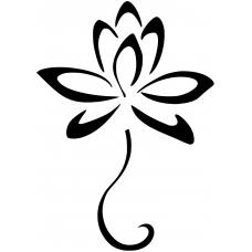 Bloemen en planten muursticker: 10141 - Lotusbloem op steel
