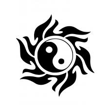 Spiritueel muursticker: 10146 - Yin en yang zon dicht