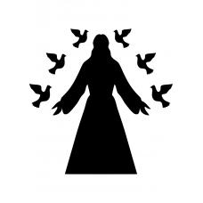 Spiritueel muursticker: 10208 - Jezus met duiven