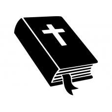 Spiritueel muursticker: 10210 - Bijbel met kruis