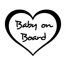 Teksten muursticker: 10112 - Baby on board hart