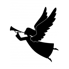 Kerst muursticker: 10204 - Engel met trompet