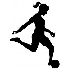 Voetbal muursticker: 10154 - Voetbal rennend meisje