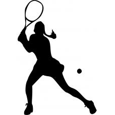 10160 - Tennis vrouw racket hoog