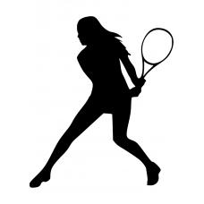 10161 - Tennis vrouw racket achter