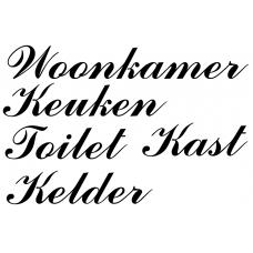 Teksten muursticker: 10278 - Woonkamer Keuken Toilet Kast Kelder - Rivièra Maison