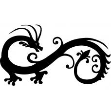 Dieren muursticker: 10224 - Tribal draak omkijkend